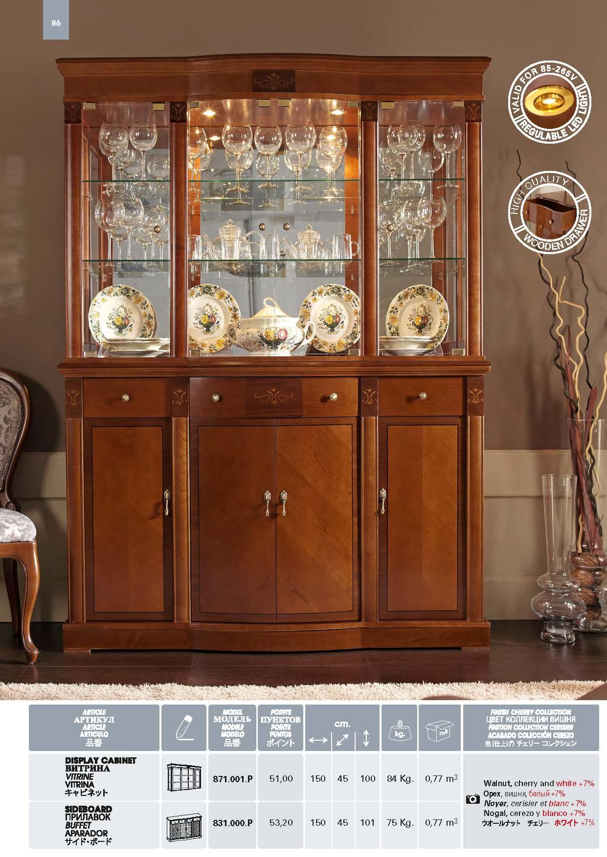 Display Cabinet Model 871001P Sideboard 831000P