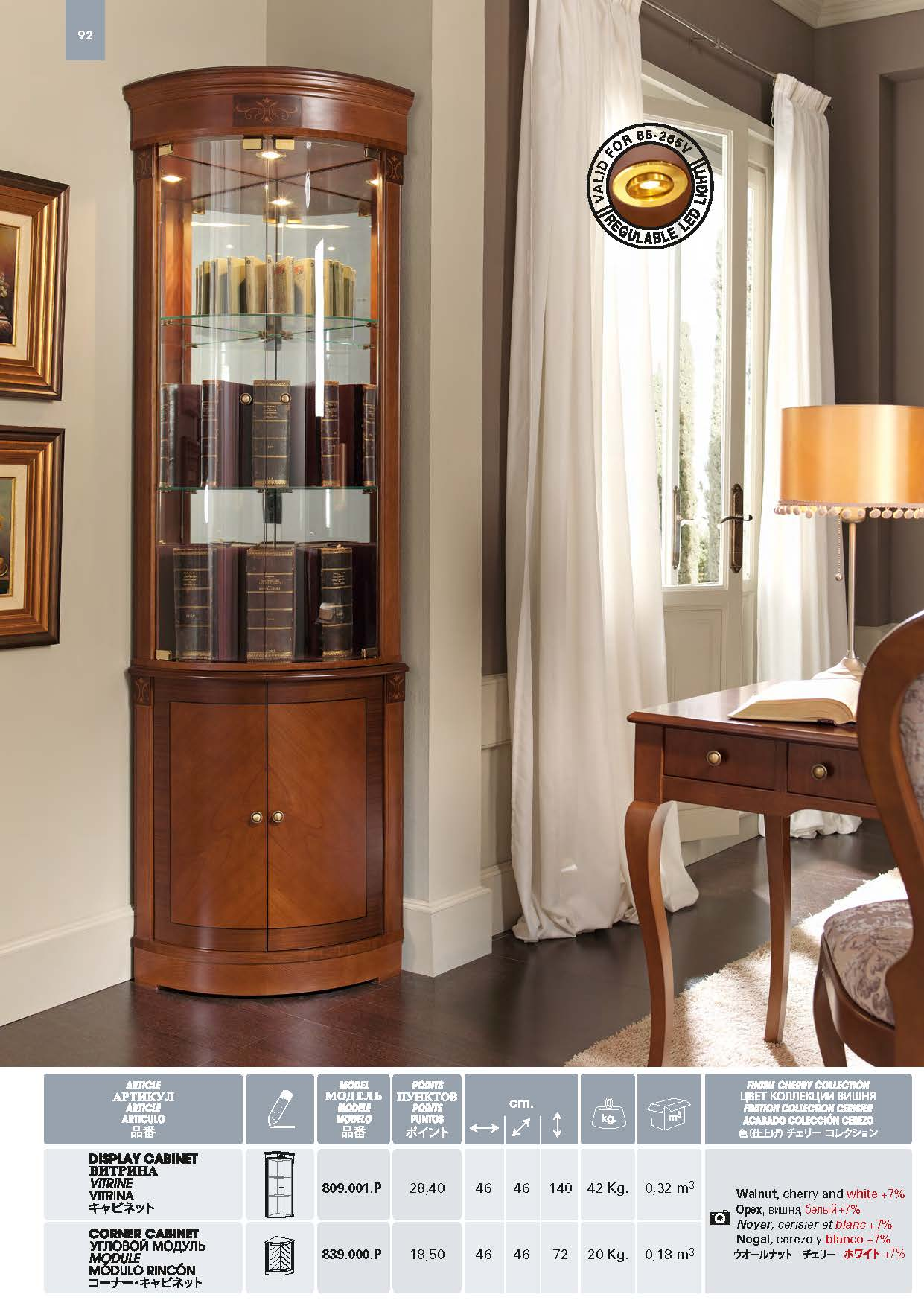 Display Cabinet Model 809001P Corner 839000P