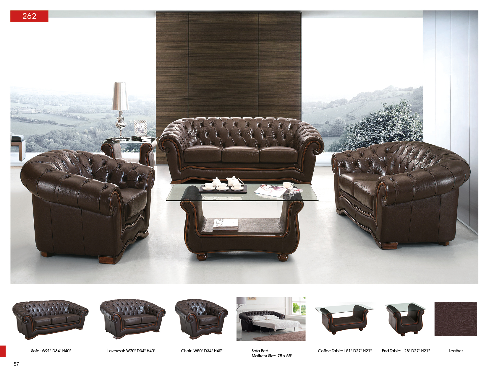 262 Full Leather Sofa Beds Living Room Furniture