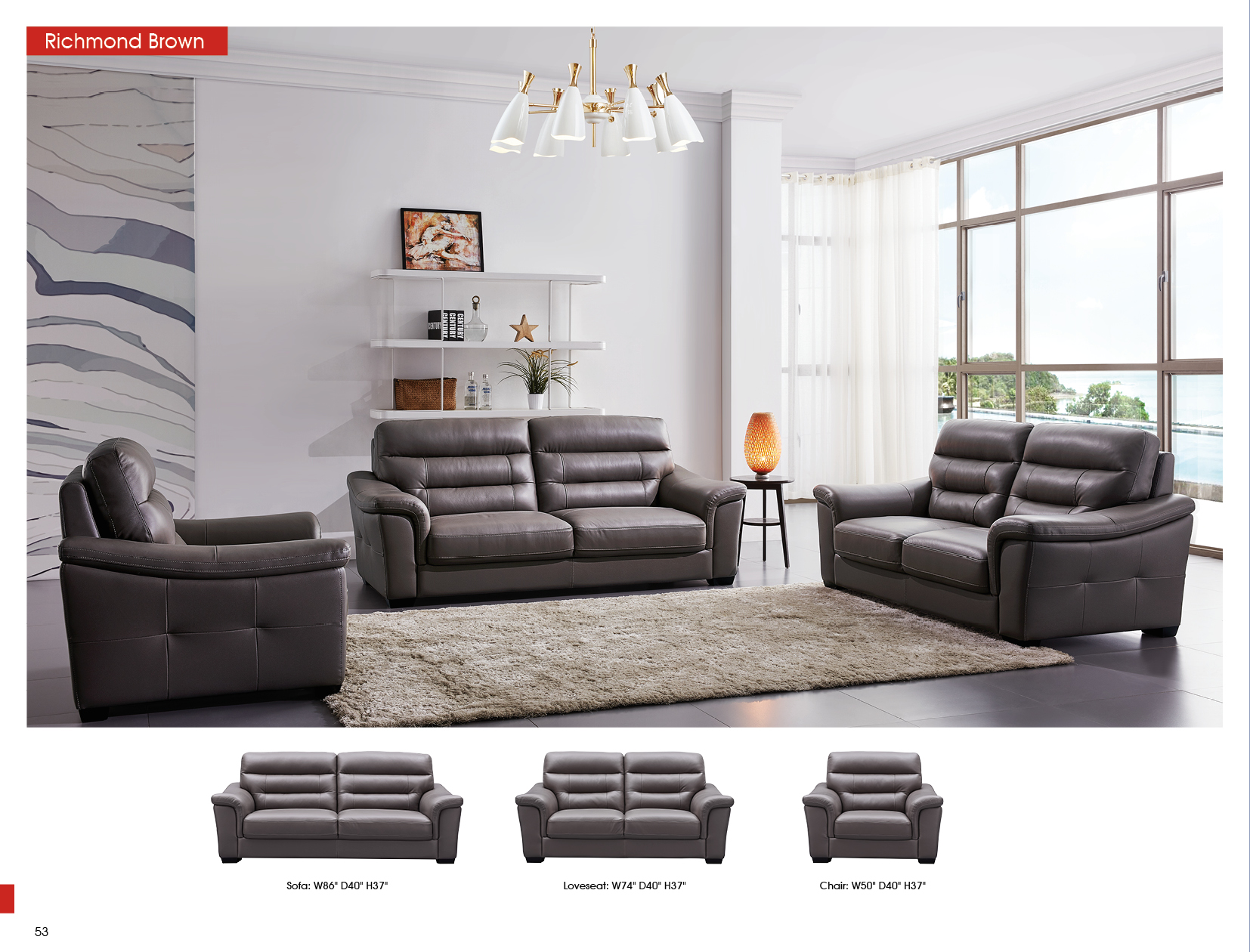Richmond Brown, Sofas Loveseats and Chairs, Living Room Furniture